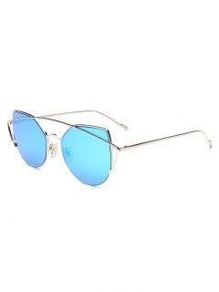 Crossbar Irregular Cat Eye Mirrored Sunglasses - Ice Blue