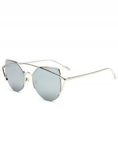 Crossbar Irregular Cat Eye Mirrored Sunglasses - Silver