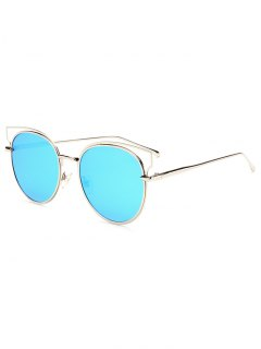 Cut Out Metal Cat Eye Mirrored Sunglasses - Ice Blue