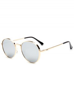 Chunky Metal Oval Mirrored Sunglasses - Silver