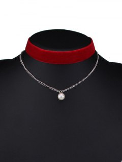 Layered Faux Pearl Velvet Choker - Red