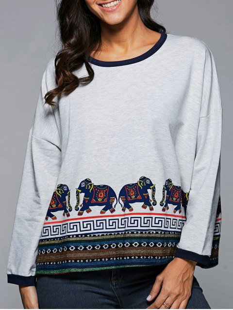 fancy Ethnic Print Drop Shoulder Sweatshirt - WHITE ONE SIZE Mobile