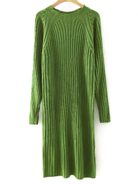 best Solid Color Round Neck Sweater Dress - BLACKISH GREEN M Mobile