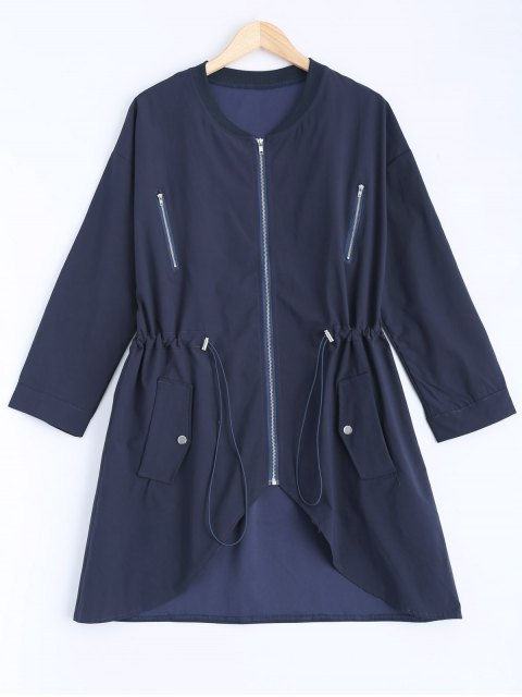 fashion Stand Neck Plus Size Drawstring Coat - CADETBLUE 2XL Mobile