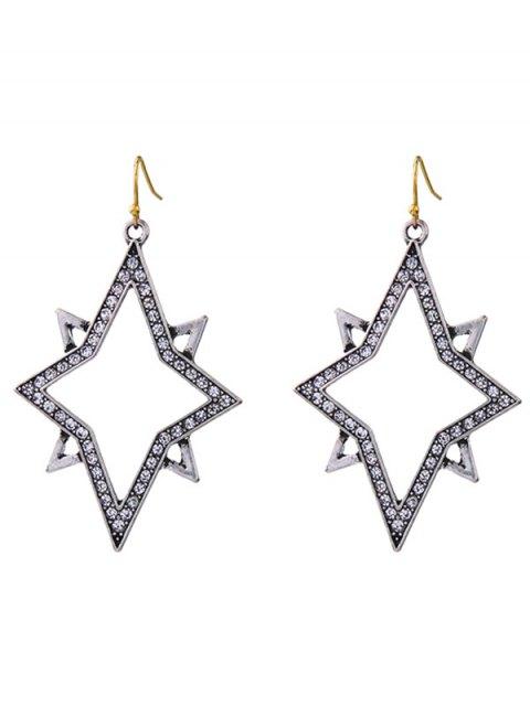 womens Star Rhinestone Drop Earrings - SILVER  Mobile