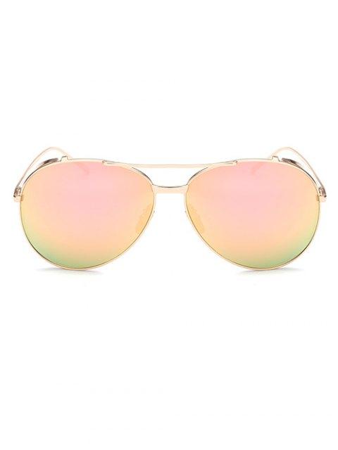 ladies Crossbar Metal Pilot Mirrored Sunglasses - PINK  Mobile