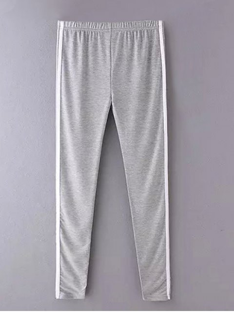 Pantalons casual moulant avec rayure latérale - Gris TAILLE MOYENNE Mobile