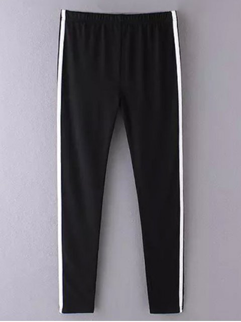 shops Side Stripe Skinny Casual Pants - BLACK ONE SIZE Mobile