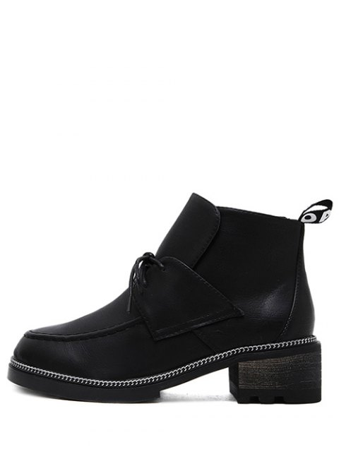 online Chain Chunky Heel Tie Up Ankle Boots - BLACK 37 Mobile