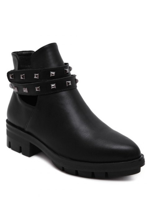 women's Rivets Pointed Toe Zipper Ankle Boots -   Mobile