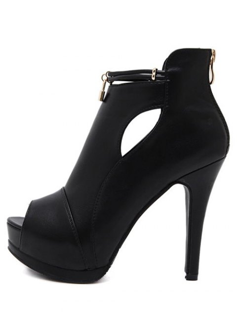 outfit Hollow Out Platform Lock Peep Toe Shoes - BLACK 38 Mobile
