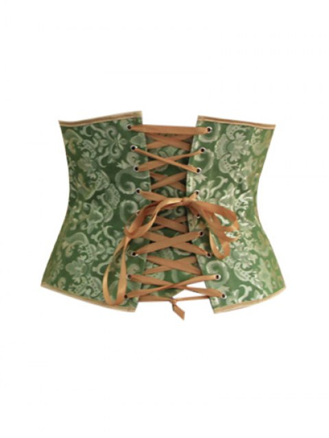trendy Lace Up Hook Up Corset With Panties - GREEN M Mobile