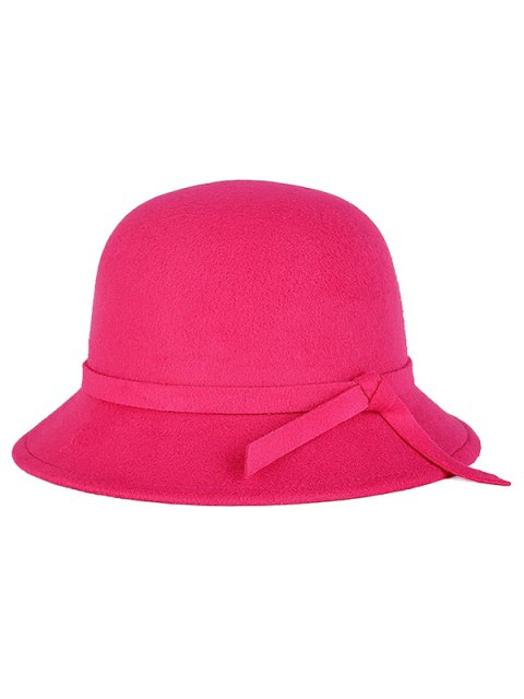 latest Winter Band Felt Fedora Hat - ROSE RED  Mobile