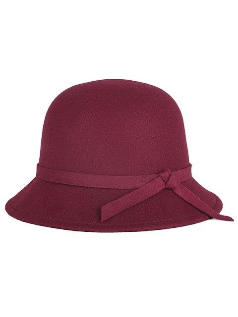 fashion Winter Band Felt Fedora Hat - WINE RED  Mobile