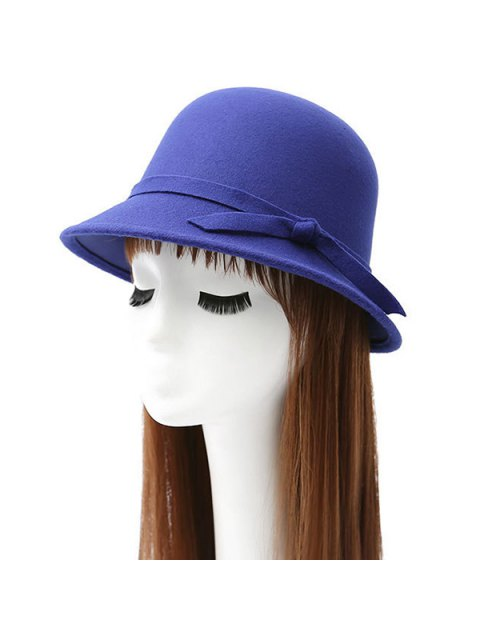 chic Winter Band Felt Fedora Hat - SAPPHIRE BLUE  Mobile