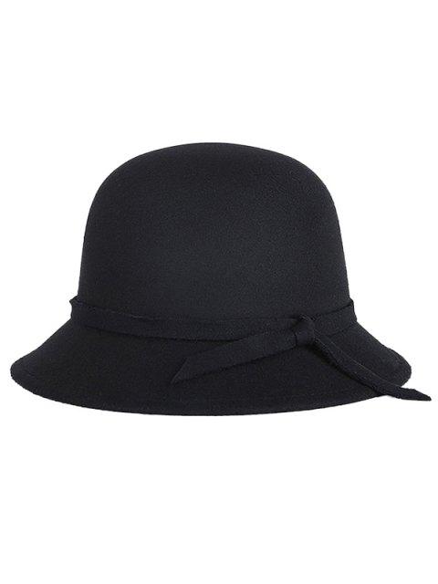 fancy Winter Band Felt Fedora Hat - BLACK  Mobile