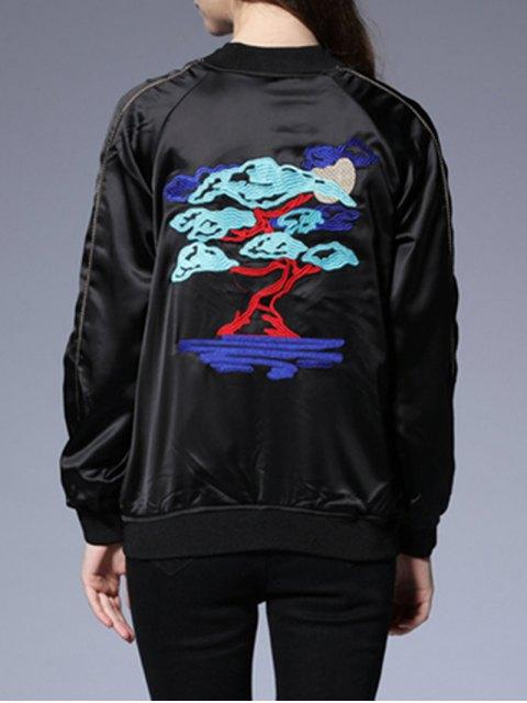 womens Bonsai Embroidered Sukajan Jacket - BLACK M Mobile