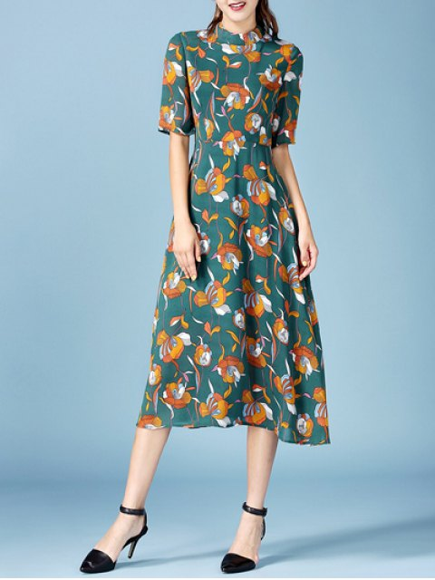 chic Printed Chiffon Midi Dress - BLACKISH GREEN L Mobile