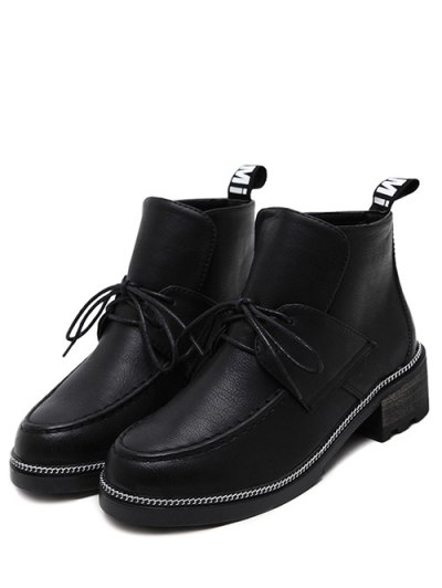 Chain Chunky Heel Tie Up Ankle Boots - BLACK 37 Mobile