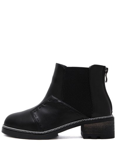 Elastic Band Stitching Chain Ankle Boots - BLACK 37 Mobile