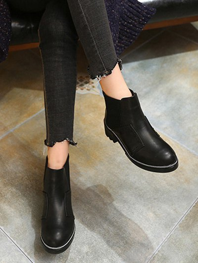Elastic Band Stitching Chain Ankle Boots - BLACK 38 Mobile