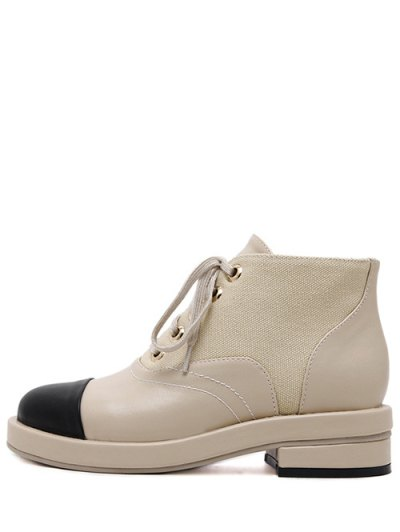 Two-Tone Tie Up Splicing Ankle Boots - APRICOT 38 Mobile