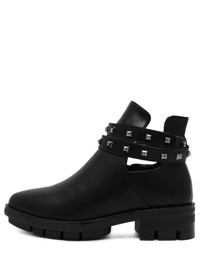 Rivets Pointed Toe Zipper Ankle Boots - BLACK 39 Mobile