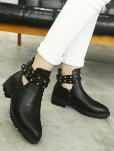 Rivets Pointed Toe Zipper Ankle Boots - BLACK 38 Mobile