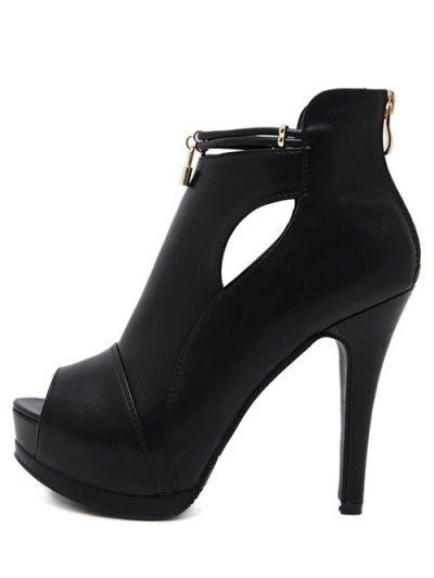 Hollow Out Platform Lock Peep Toe Shoes - BLACK 38 Mobile