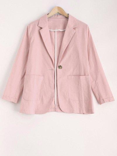 One Button Pockets Blazer - Pink S
