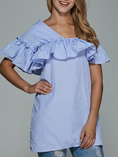 Striped Flounce Ruffles Cold Shoulder Dress - BLUE 2XL Mobile