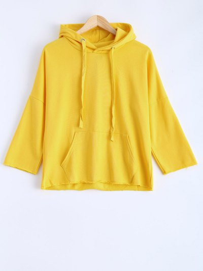 Pocket Drawstring Pullover Hoodie - Yellow