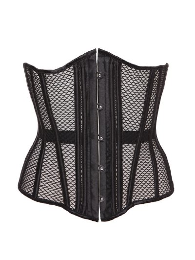 Hollow Out Lace Up Corset With Panties - BLACK 2XL Mobile