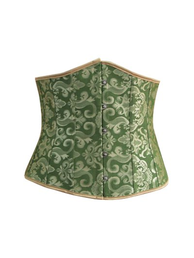 Lace Up Hook Up Corset With Panties - GREEN M Mobile