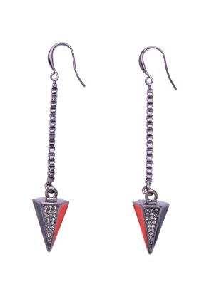 Pyramid Rhinestone Drop Earrings - Silver