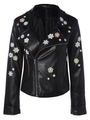 Floral Embroidered Lapel Collar Faux Leather Jacket - Black