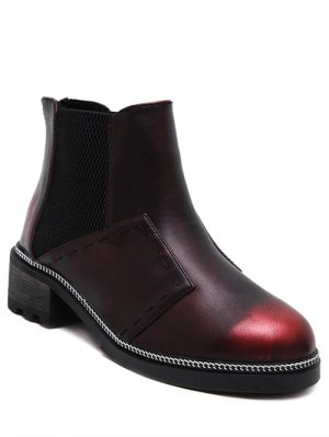 Elastic Band Stitching Chain Ankle Boots - Wine Red