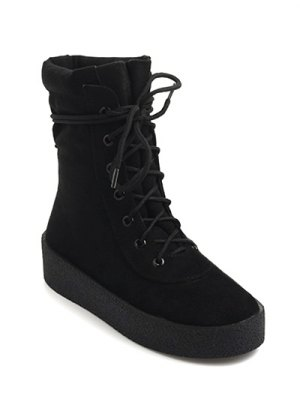 Platform Lace-Up Flock Short Boots - Black
