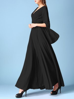 V Neck Chiffon Maxi Surplice Dress - Black