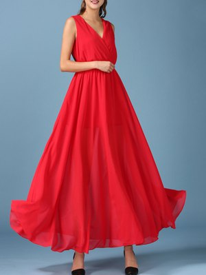 Chiffon V Neck Surplice Maxi Dress - Red