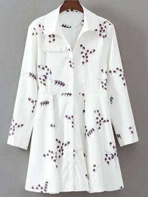 Printed Long Sleeve Skater Dress - White