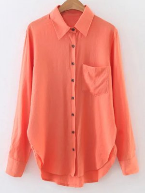 Long Sleeve Linen Shirt With Pocket - Jacinth