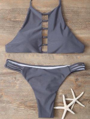 Halter Cutout Padded Bikini Set - Gray