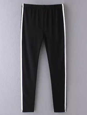 Side Stripe Skinny Casual Pants - Black