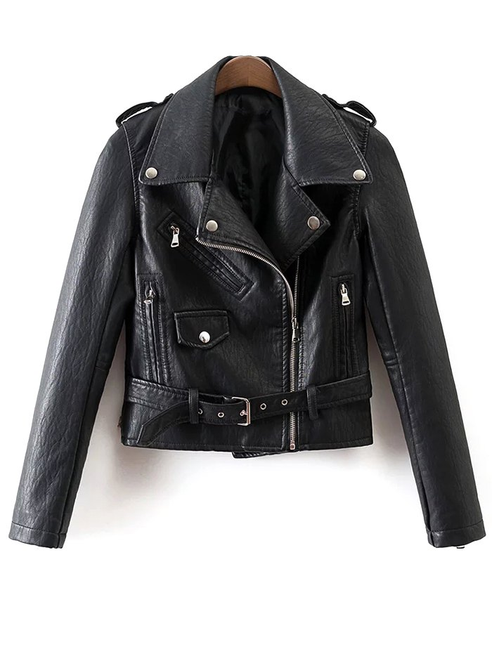 PU Leather Zip-Up Motorcycle Jacket