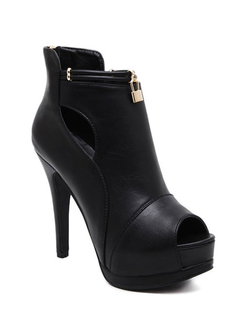 Hollow Out Platform Peep Toe Shoes