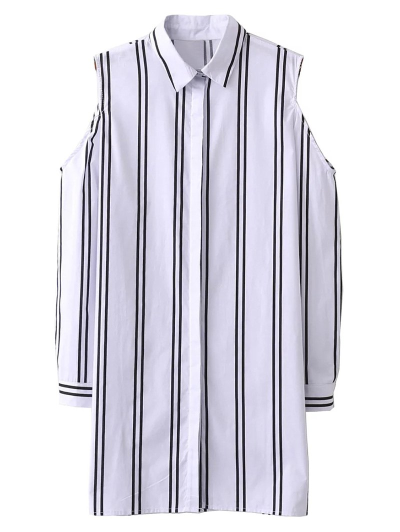 Striped Cold Shoulder Long Shirt