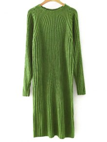 Solid Color Round Neck Sweater Dress - Blackish Green L