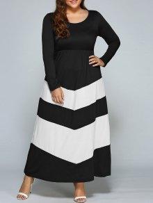 Zigzag Long Sleeve Plus Size Maxi Dress - White And Black 2xl