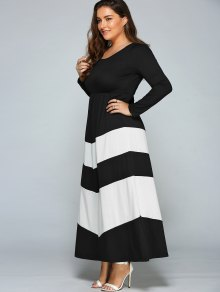 Zigzag Long Sleeve Plus Size Maxi Dress WHITE AND BLACK: Maxi ...